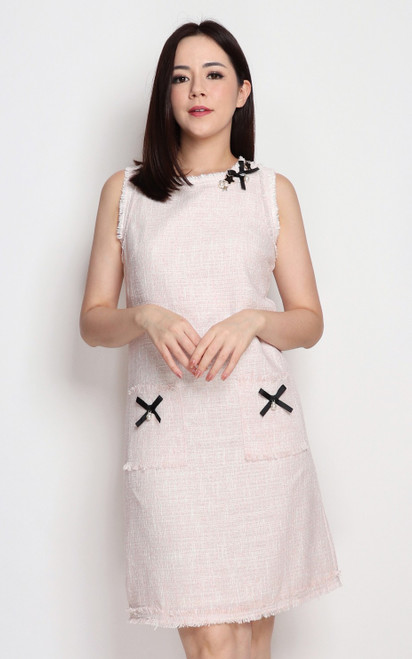 Tweed Shift Dress - Pink