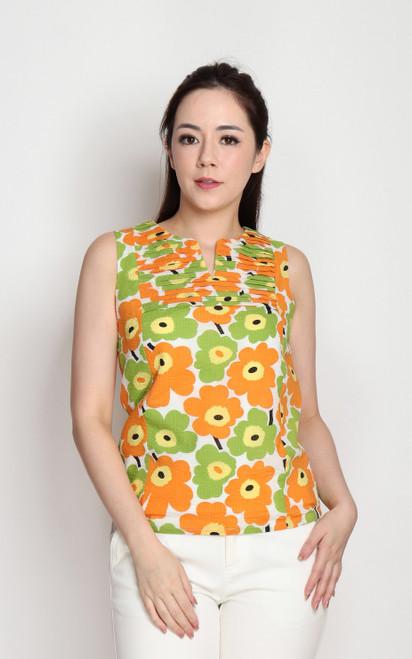 Floral Pleated Bib Top - Orange