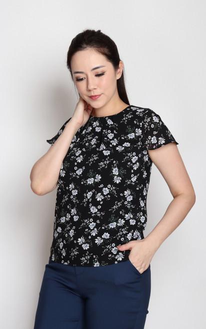 Floral Ruffle Sleeves Top - Black