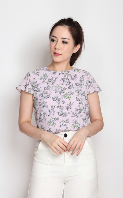 Floral Ruffle Sleeves Top - Lilac