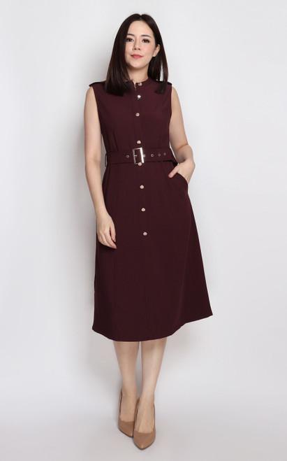 Buttons Flare Dress - Burgundy