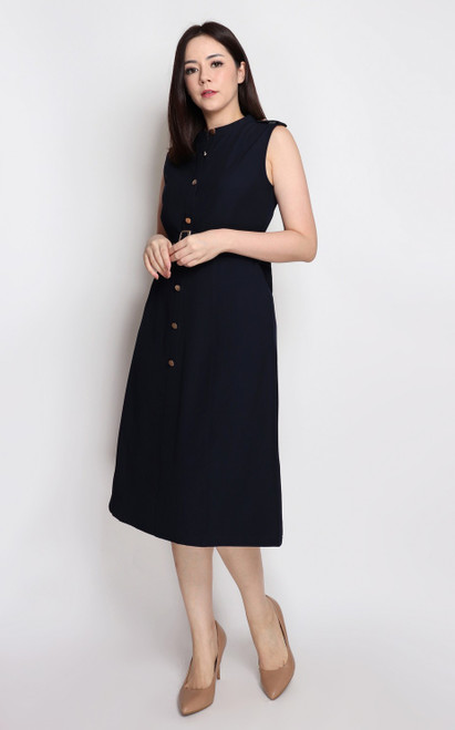 Buttons Flare Dress - Navy