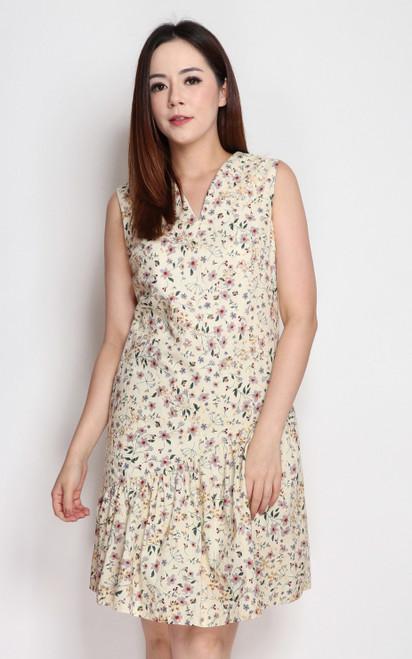 Embroidered Asymmetrical Hem Dress - Buttercream