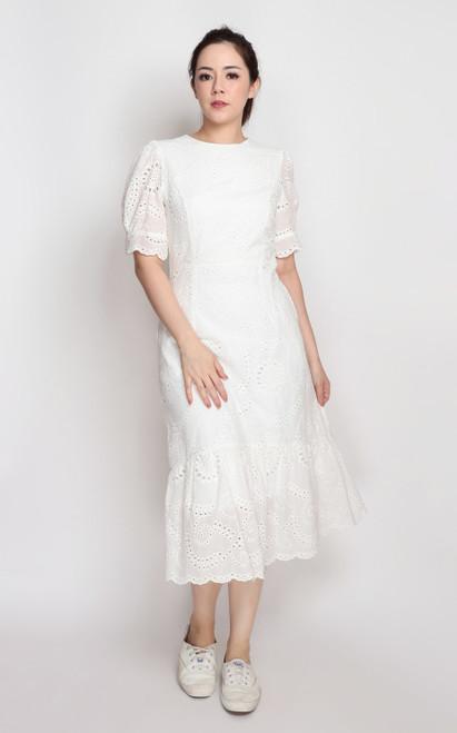 Eyelet Ruffle Hem Midi Dress - White