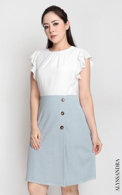 Faux 2-piece Dress - White