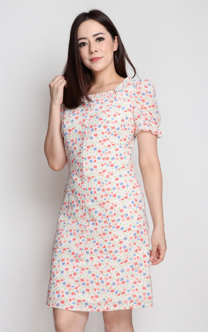 Textured Floral Dress - White