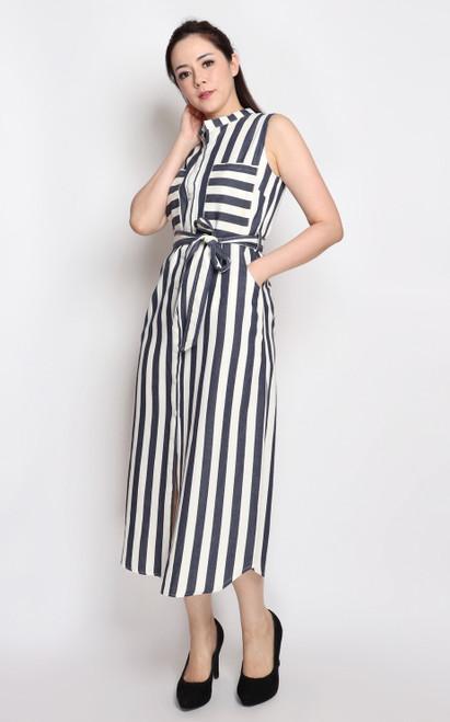 Striped Linen Shirt Dress - Navy