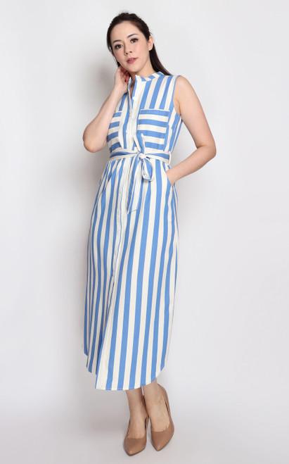 Striped Linen Shirt Dress - Sky Blue