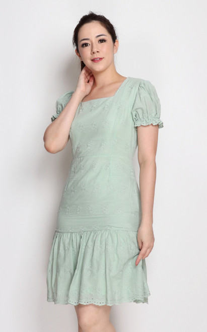 Embroidered Square Neck Dress - Mint