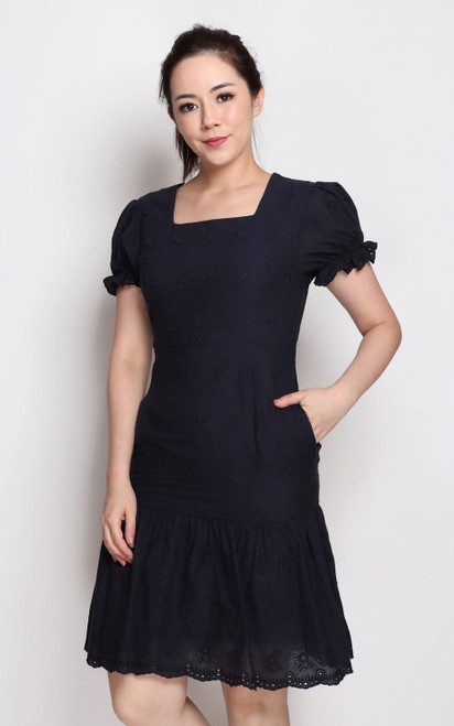 Embroidered Square Neck Dress - Navy