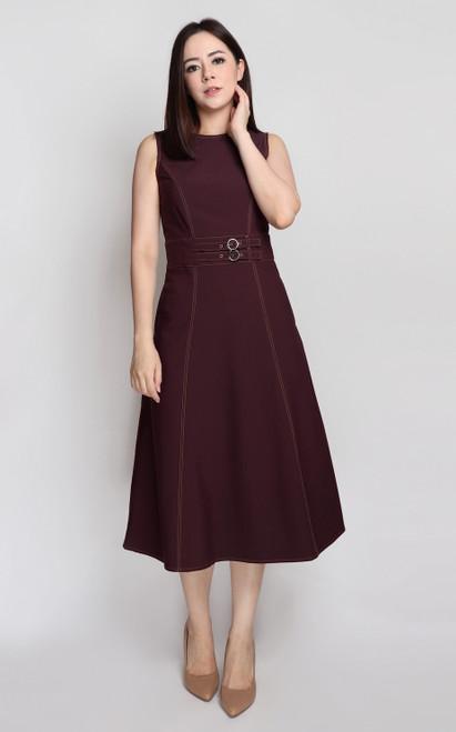 Belted Midi Dress - Burgundy