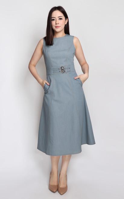 Belted Midi Dress - Denim Blue-Grey