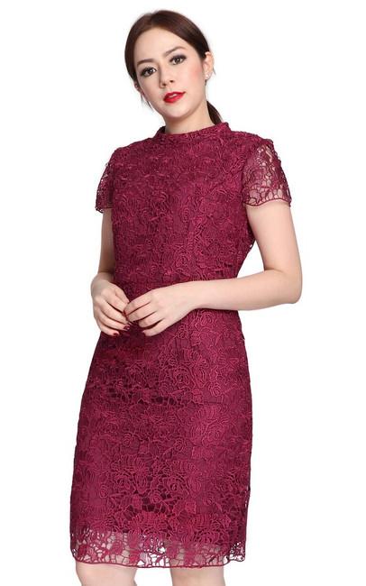 High Collar Crochet Lace Dress Deep Berry Singapore Online Shop