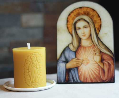 100% Beeswax Chrism-scented Candle Our Lady of Guadalupe