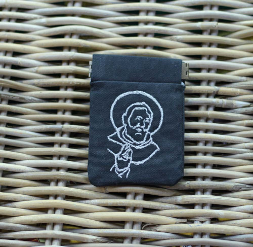 Embroidered Rosary Case in Duck Cloth with Pinch: Saint Pio in Black
