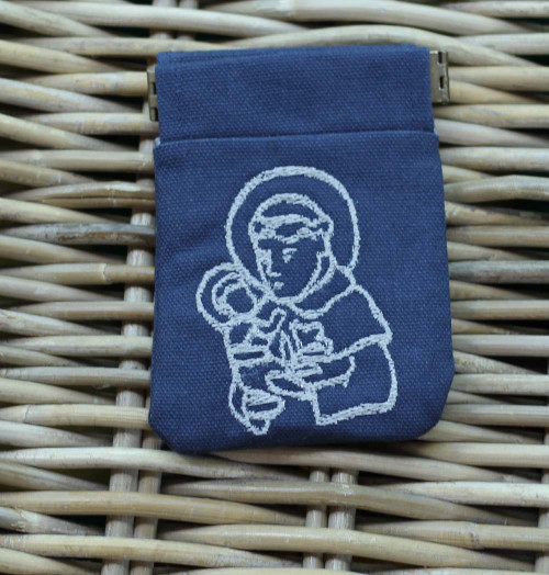 Embroidered Rosary Case in Duck Cloth with Pinch: Saint Anthony of Padua Navy