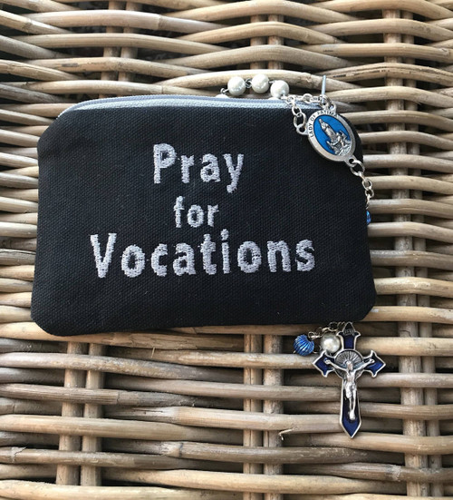 Embroidered Rosary Case in Duck Cloth with Zipper: Vocations