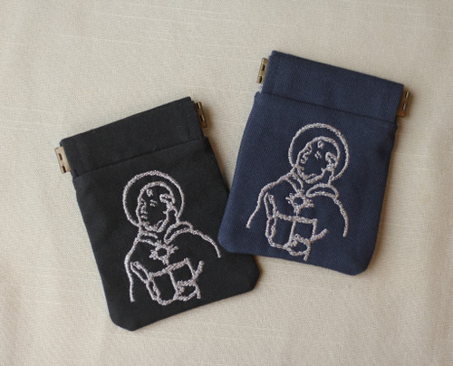 Embroidered Rosary Case in Duck Cloth with Pinch Frame: Thomas Aquinas
