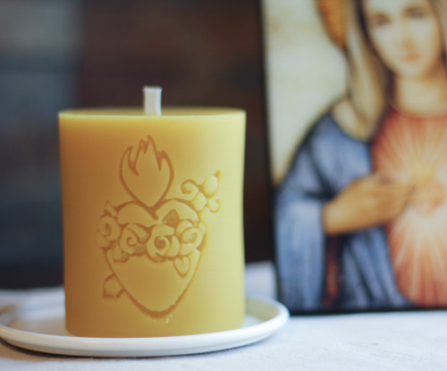 100% Beeswax Chrism-scented Candle Sacred Heart and Immaculate Heart