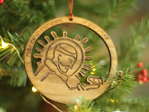 Saint Francis Instrument of Your Peace Laser Cut Ornament