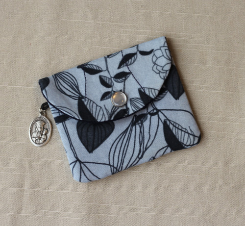 Floral Print Rosary Case with Snap
