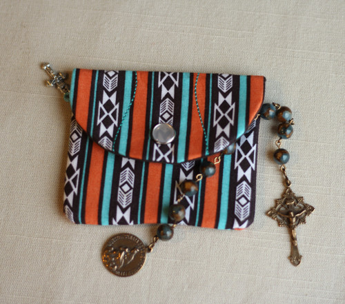 Southwestern Print Rosary Case in with Snap