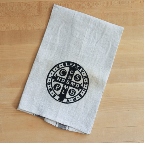 Saint Benedict Linen Tea Towel