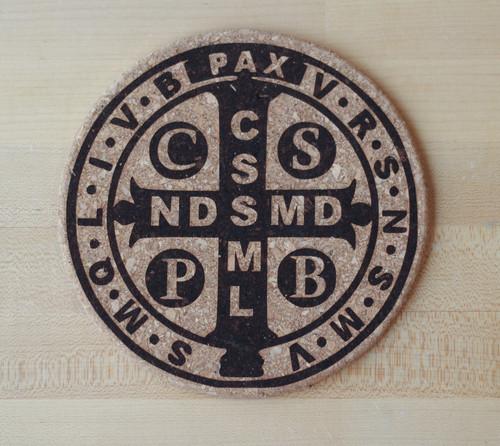 Saint Benedict Medal Laser Engraved Cork Trivet