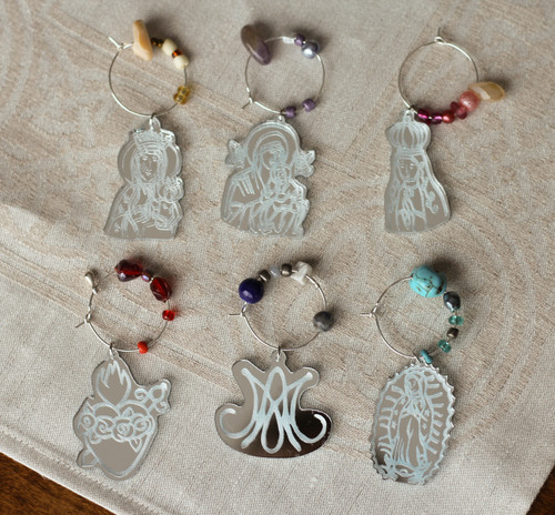 Marian Themed Wine Charms Laser Cut Mirrored Acrylic