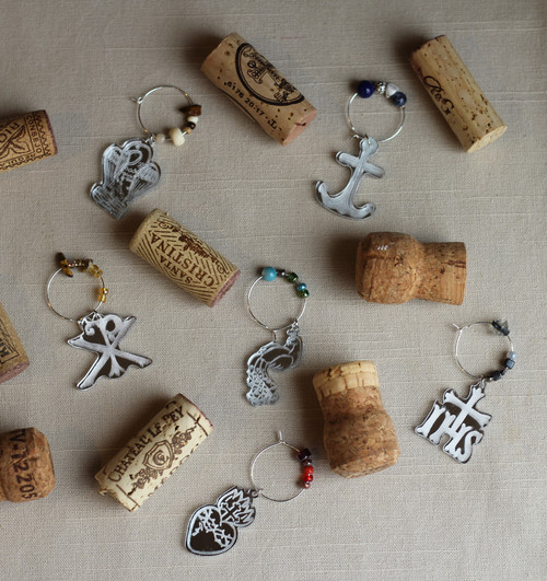 Symbols of Christ  Wine Charms Laser Cut Mirrored Acrylic
