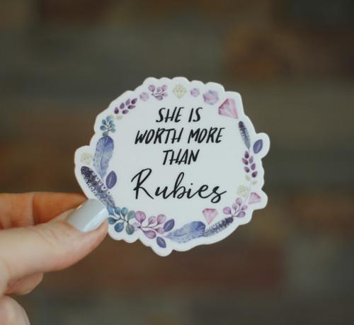 Worth More Than Rubies Diecut | Vinyl, Dishwasher safe