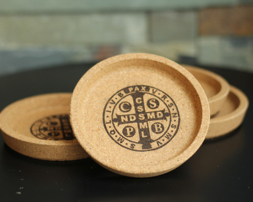 Saint Benedict Laser Engraved Cork Coaster Set