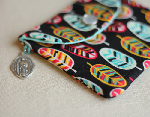 Feather Print Rosary Case with Snap