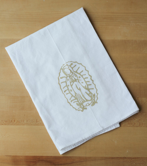 Our Lady of Guadalupe Flour Sack Towel in Gold