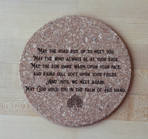 Irish Blessing Laser Engraved Cork Trivet