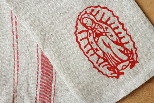 Our Lady of Guadalupe Linen Tea Towel