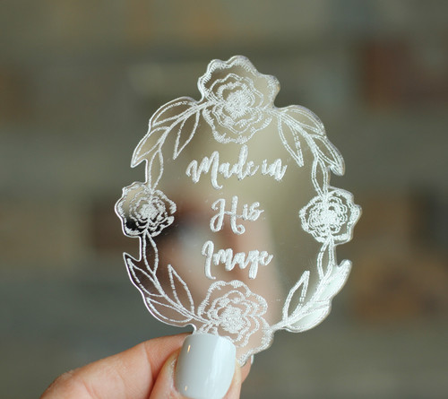 Made in His Image Laser Cut Mirrored Acrylic Magnet