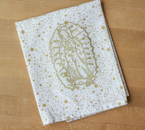 Our Lady of Guadalupe Cotton Party Towel in Gold