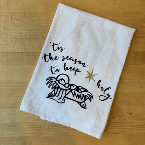 Infant Jesus Flour Sack Towel in Gold