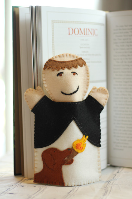 St. Dominic felt hand puppet with book.