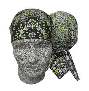 Danbanna Deluxe:  Black/Lime Paisley with Rhinestones