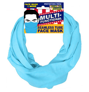 Patriotic Multifunctional Seamless Face Mask Light Blue