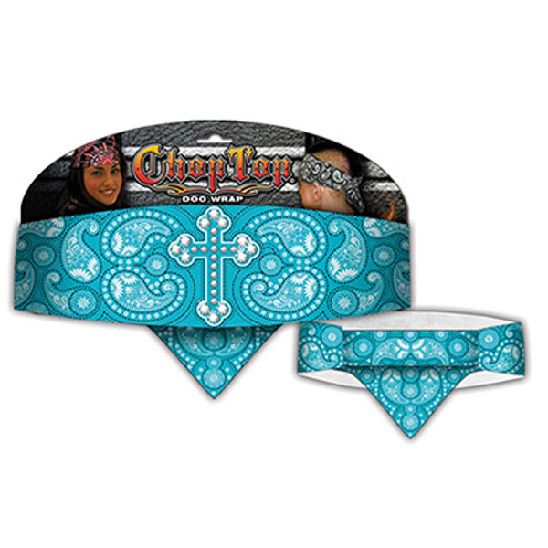 Chop Top:  Blessed Paisley Turquoise w/Rhinestones