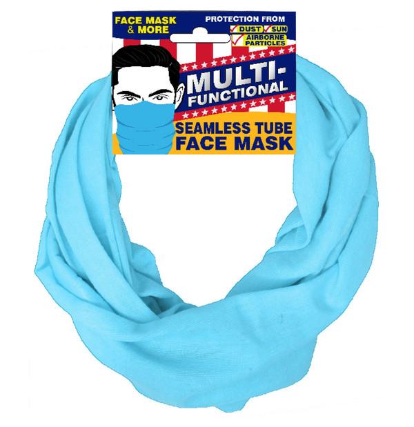 Patriotic Multifunctional Seamless Face Mask Light Blue