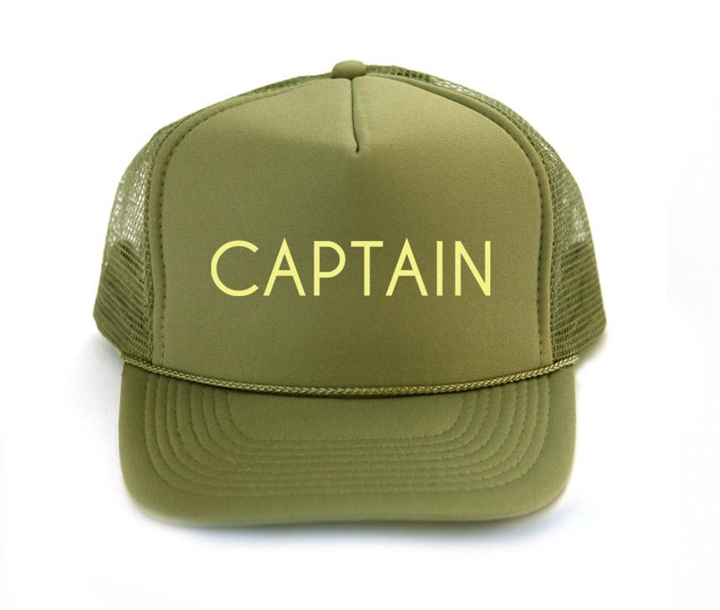 Hand printed Captain trucker hat.