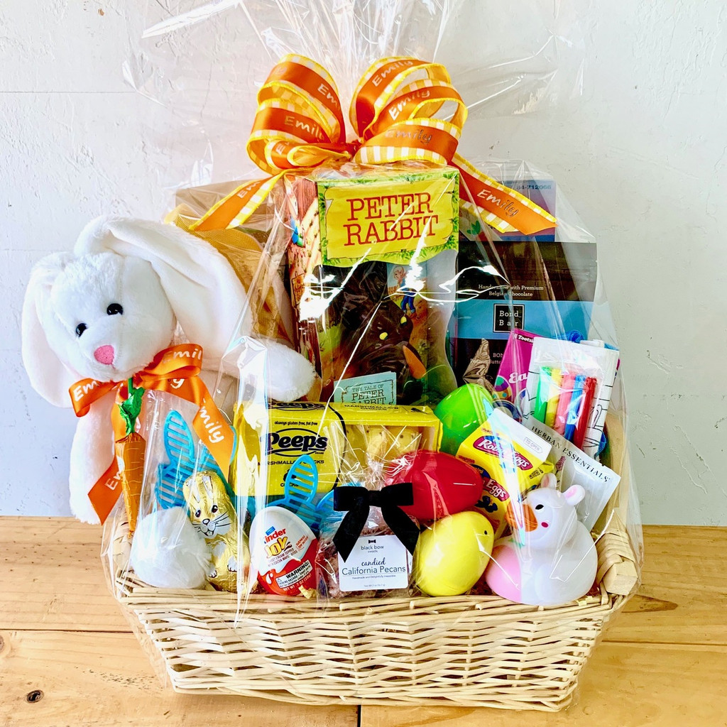 An Ultimate Easter Basket wrapped.
