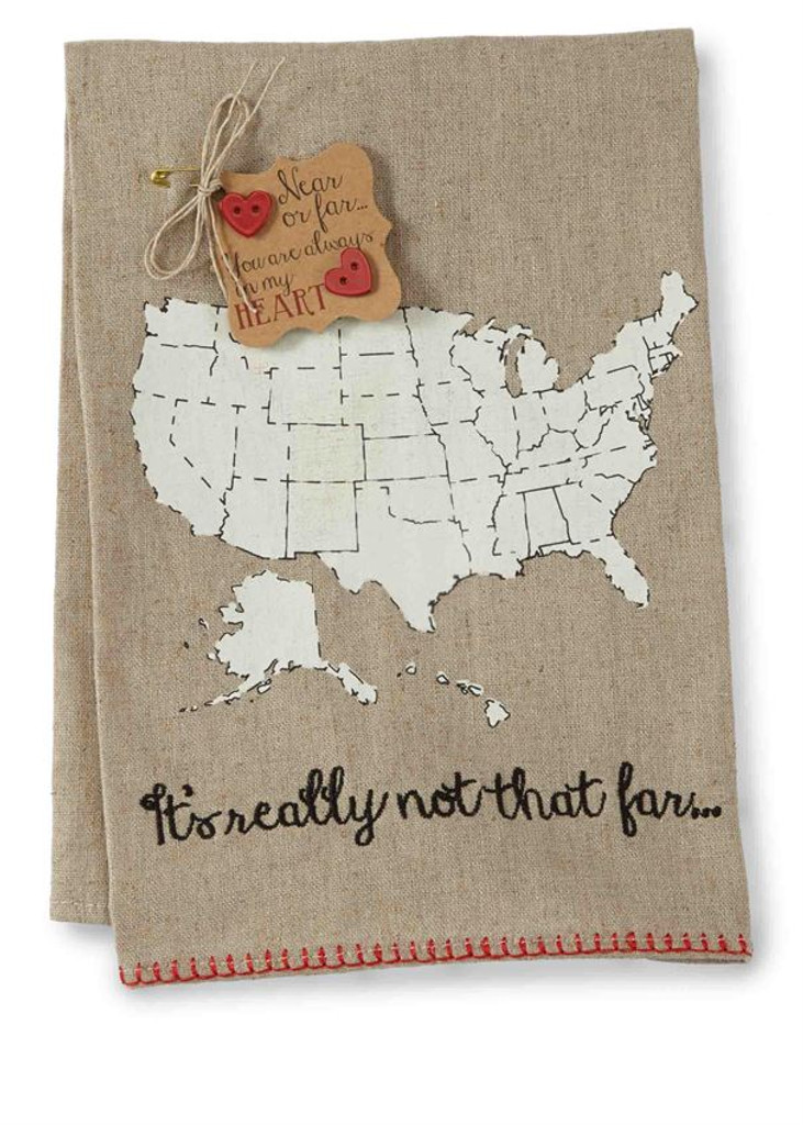 It's Really Not That Far- Moveable Heart Tea Towel