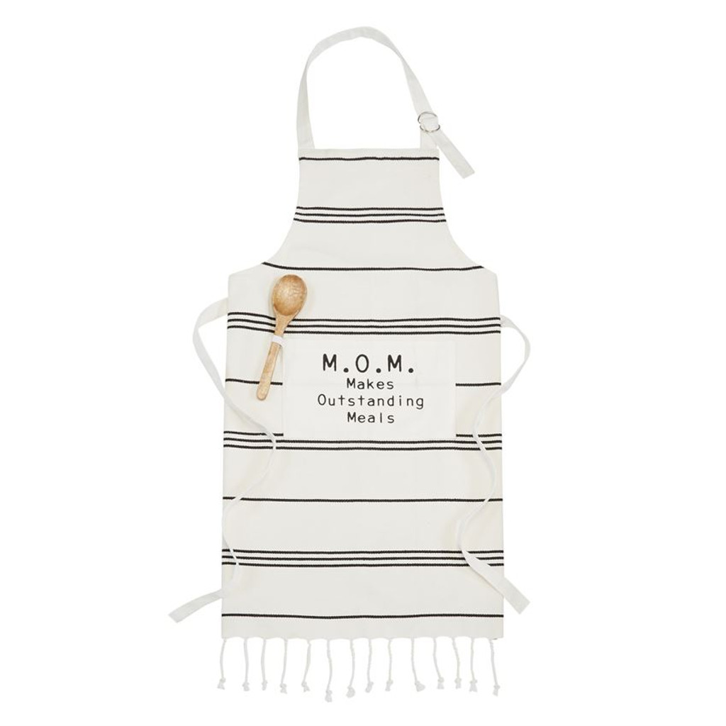 Mom Turkish Apron and Wooden Spoon Set