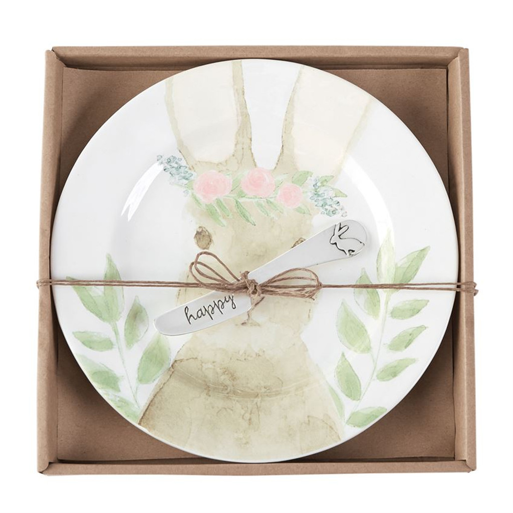 Watercolor Bunny Cheese Plate Set