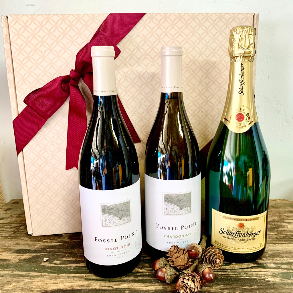 Red, White & Bubbles Three Bottle Celebration Basket